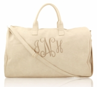 Cream Monogrammed Faux Luxe Leather Duffel Bag