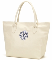 Cream Monogrammed Large Tote Bag