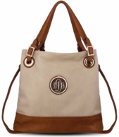 Cream Monogrammed Lauren Bucket Bag