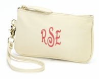 Cream Monogrammed Wristlet Clutch Purse
