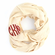 Cream Solid Monogram Infinity Loop Scarf