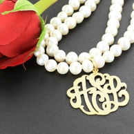 Double Strand Pearl Monogram Necklace