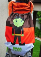 Cute Frankie Personalized Halloween Drawstring Backpack