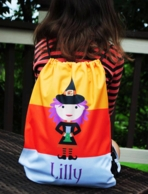 Cute Witch Personalized Halloween Drawstring Backpack