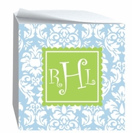 Damask Monogrammed Sticky Note Cube - CHOOSE YOUR COLORS!