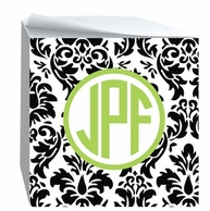 Reverse Damask Monogrammed Sticky Note Cube - CHOOSE YOUR COLORS!