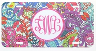 Deco Floral Monogrammed Car Tag