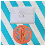 Diagonal Stripe Hand Painted Monogram Photo Frame - CHOOSE YOUR COLORS