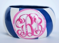 Diagonal Stripe Monogram Handpainted Wood Bangle
