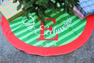 Diagonal Stripe Personalized Family Name Christmas Tree Skirt