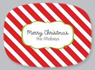Diagonal Stripes Personalized Holiday Serving Platter