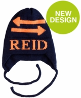Double Arrow Personalized Knit Hat with Earflaps