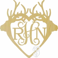 Double Deer Antlers Wood Wall Monogram