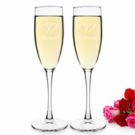 Double Hearts Personalized Wedding Champagne Toasting Flutes
