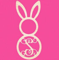 Easter Bunny Wood Wall Monogram