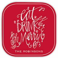 Eat, Drink & Be Merry Personalized Coasters - SET OF 4