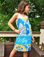 Eleanor Blue & Gold Paisley Girls Personalized Spa Wrap