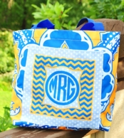 Eleanor Blue & Gold Paisley Personalized Pocket Tote Bag