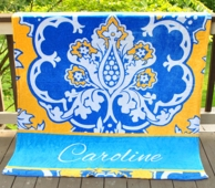 Eleanor Blue & Gold Personalized Fleece Throw Blanket