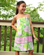 Eleanor Pink & Lime Paisley Personalized Girls Spa Wrap