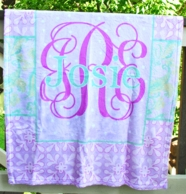 Eleanor Purple Floral Personalized Baby Minky Blanket