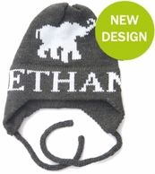 Elephant Personalized Knit Hat with Earflaps