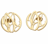 Elizabeth Filigree Monogram Stud Earrings