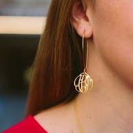 Elizabeth Gold Dangle Monogram Earrings
