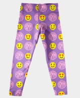 Emoji Purple Monogrammed Girls Leggings