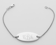 Engraved Sterling Silver Oval Chain Bracelet