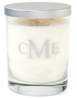 Etched Block Monogram Unscented White Soy Candle with Lid