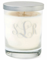 Etched Script Monogram Unscented White Soy Candle with Lid