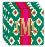 Evergreen Ikat Metallic Monogram Holiday Coasters - SET OF 4