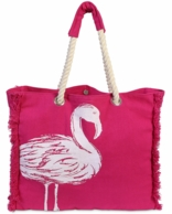 Flamingo Fringe Rope Handle Beach Tote