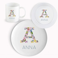 Floral Alphabet Personalized Kids Dinnerware Set