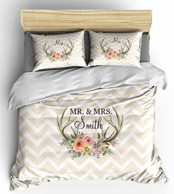 Floral Antlers Personalized Bedding Set