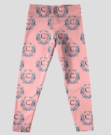 Floral Pink Monogram Girls Leggings