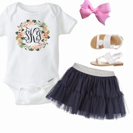 Floral Wreath Monogram Kids Tee