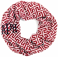 Garnet Greek Key Monogrammed Infinity Loop Scarf