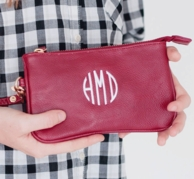 Garnet Leather Monogrammed Wristlet Purse