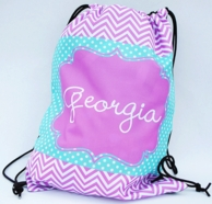 Georgia Personalized Purple Chevron Drawstring Backpack