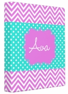 Georgia Purple Chevron Personalized 3 Ring Binder