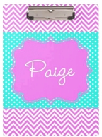 Georgia Purple Chevron Personalized Clipboard