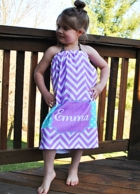 Georgia Purple Chevron Personalized Girls Spa Wrap