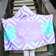 Georgia Purple Chevron Personalized Hooded Towel