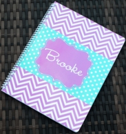 Georgia Purple Chevron Personalized Spiral Notebook