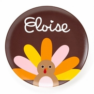 Girl Turkey Personalized Kids Thanksgiving Plate