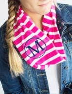 GIRLS Hot Pink Stripe Monogrammed Infinity Scarf