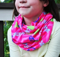 Girls Pink Peace Love Personalized Infinity Scarf