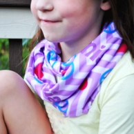 Girls Purple Peace Love Personalized Infinity Scarf